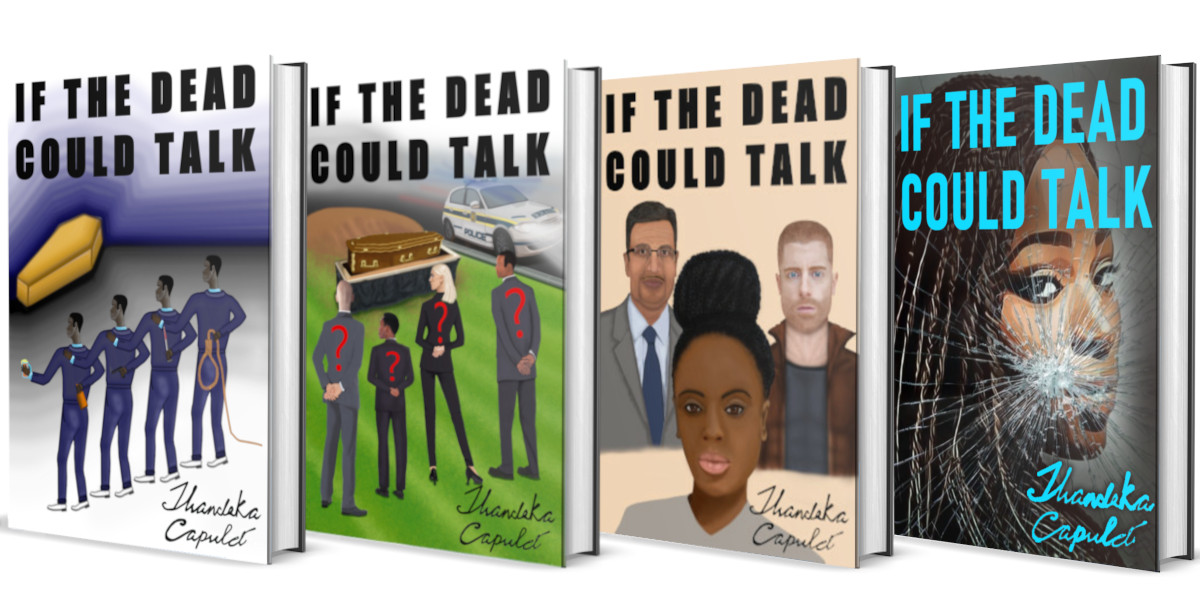 Picture of four books digitally rendered. Each book has a different picture but the same title