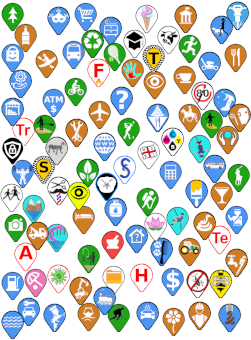 Picture of a collage of custom map pins. A good example of the Illustrative Art available form encoreservices.co.za