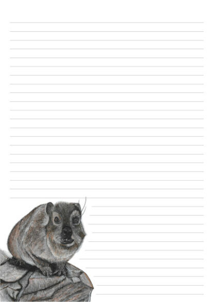 Picture of a Dassie on a 32 line A4 page