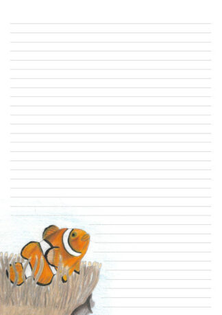 A4 page with 32 lines and a hand drawn picture of a clownfish