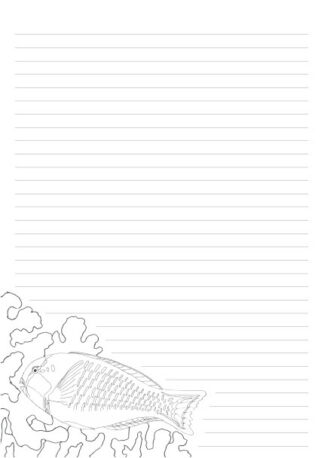 A 32 lined A4 page with a hand drawn Parrot Fish on the bottom left corner as a colouring in picture.