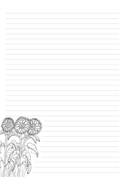 Hand drawn sunflowers as a colouring in picture on a 32 line A4 page for letter writing.